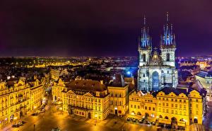 Фото Чехия Прага Здания Храмы Ночные Улица город