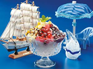 Картинки Десерт Парусные Фрукты Шоколад Цветной фон Дизайна Зонтом Еда