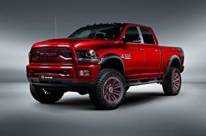 Обои Dodge Серый фон Пикап кузов Красный 2018-19 Ram 2500 by Apache Customz Trucks автомобиль