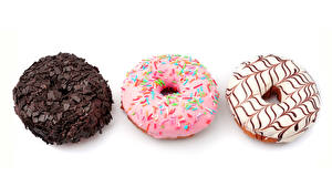 Обои Пончики Выпечка Шоколад Белый фон Три Еда