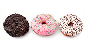 Обои Пончики Выпечка Шоколад Белый фон Три