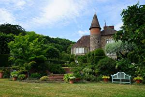 Картинка Англия Сады Особняк Кусты Little Malvern Природа