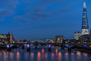 Фото Англия Дома Река Мосты Вечер Лондон Города