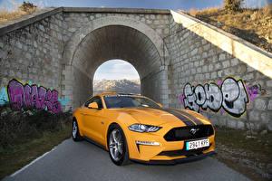 Фотографии Форд Желтый Металлик 2018-19 Mustang GT Fastback Performance Parts Авто