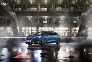 Картинки Форд Голубой 2019 Focus ST Worldwide Автомобили