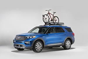 Обои Форд Голубой 2020 Explorer Limited with Yakima Accessories Авто