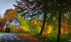 Фотографии Германия Осень Дома Реки Деревья Ahausen Lower Saxony