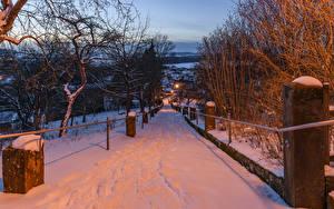 Фото Германия Зима Дороги Вечер Бавария Снег Дерево Gesees Города