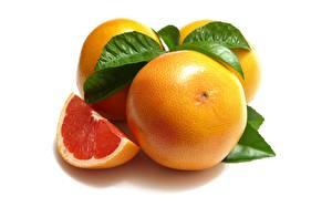 Обои Грейпфрут Вблизи Белый фон Еда