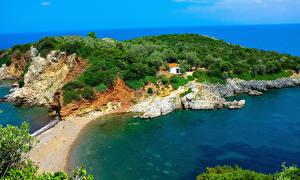 Обои Греция Берег Залив Agios Vasileios Evia Природа
