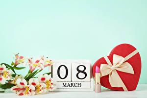 Фото Праздники 8 марта Альстрёмерия Английский Подарки Сердце Бант цветок