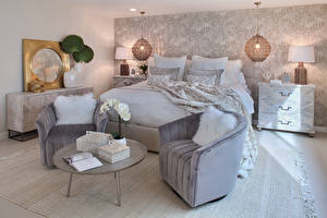 Фото Интерьер Дизайна Спальня Кровате Кресло Лампы