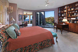 Картинка Интерьер Дизайн Спальня Кровать Лампа Подушки
