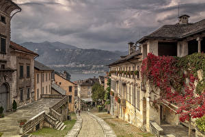 Фотография Италия Дома Улица Orta San Giulio Города