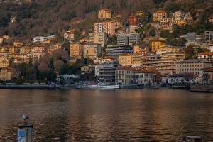 Обои Италия Озеро Дома Пирсы Como Lombardy Города