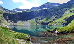 Картинка Италия Гора Озеро Альпы Мхом Val Gardena Природа