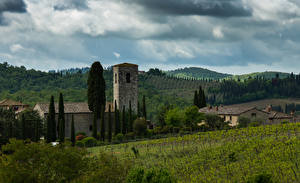 Фотография Италия Тоскана Здания Поля Холмы Chianti Города