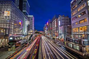 Фотографии Япония Здания Дороги Вечер Улица Sendai