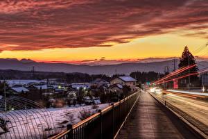 Фотография Япония Дома Дороги Рассвет и закат Зимние Забор Numata город