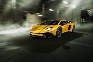 Картинка Lamborghini Желтая Aventador Novitec Torado LP 750-4 Автомобили