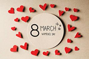 Фото Международный женский день Цветной фон Английская Сердца