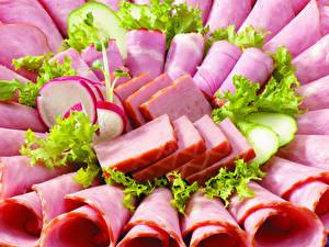 Фотографии Мясные продукты Ветчина Колбаса Овощи Нарезанные продукты