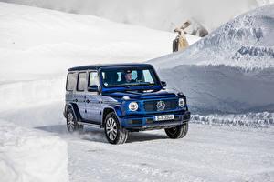 Картинки Мерседес бенц Синие SUV 2019 G 350 d Worldwide машина