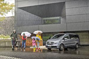 Обои Мерседес бенц Дождь Серый 2019 V-Klasse Exclusive Line Worldwide Авто