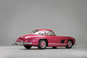 Картинка Mercedes-Benz Винтаж Серый фон Розовый Металлик 1956 300 SL Машины