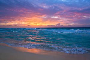 Фото Мексика Море Берег Волны Рассветы и закаты Природа