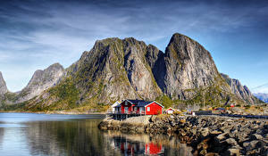 Фотографии Норвегия Лофотенские острова Побережье Здания Скала Залив