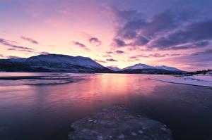 Фотография Норвегия Лофотенские острова Зимние Горы Рассветы и закаты Заливы Природа