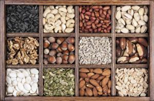 Обои Орехи Много Лесной орех Грецкий орех Миндаль Зерно Продукты питания