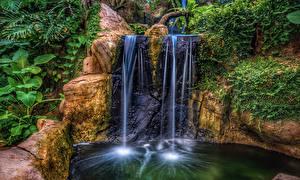 Картинки Парки Водопады Утес HDR Природа