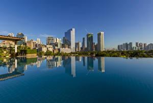 Обои Филиппины Дома Плавательный бассейн Makati Города
