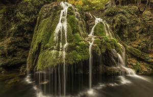 Фотографии Румыния Водопады Утес Мох Bigar Waterfall