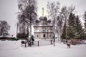 Фото Россия Храм Церковь Зимние Снеге Забор Belozersk Vologda Oblast город