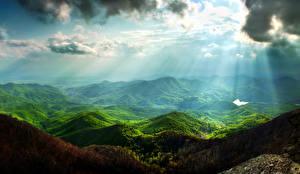 Фото Пейзаж Горы Небо Мох Облака Лучи света Природа