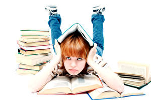 Обои Школа Белым фоном Девочки Книга Рука Взгляд Дети