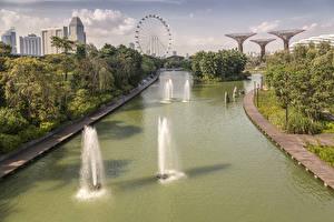 Картинка Сингапур Парки Водный канал Колесо обозрения Природа