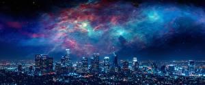 Картинка Небоскребы Дома Америка Ночью Мегаполис Лос-Анджелес Города