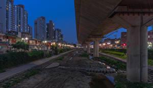 Фотографии Южная Корея Здания Вечер Улица Уличные фонари Seoul Города Города