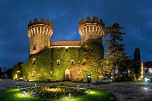 Фотография Испания Замки Вечер Мох Уличные фонари Castell Peralada