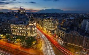Фотографии Испания Вечер Дома Мадрид Улиц Сверху Города