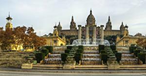 Фотография Испания Фонтаны Водопады Барселона Дворца Лестницы National Palace Города