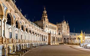 Обои Испания Ночные Plaza de España, Seville