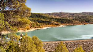 Обои Испания Реки Осень Холмов Природа