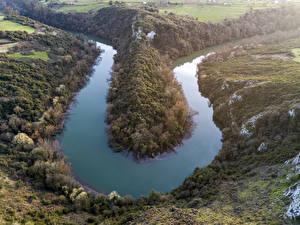 Фотографии Испания Речка Холмы Oviedo Asturias