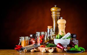 Фото Пряности Орехи Острый перец чили Чеснок Банке Продукты питания