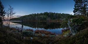 Картинки Швеция Реки Лес Вечер Камни Grodinge Природа